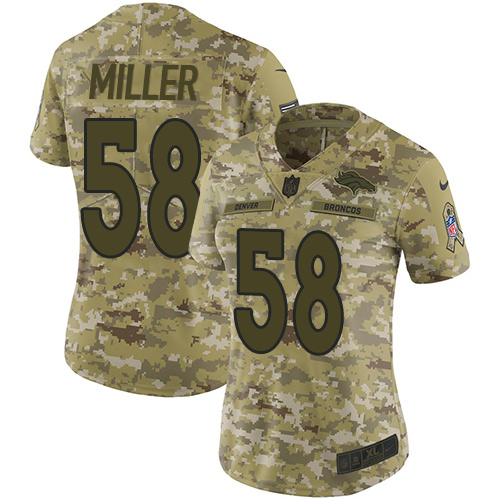 Nike Broncos #58 Von Miller Camo Women's Stitched NFL Limited 2018 Salute to Service Jersey