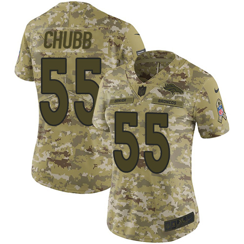 Nike Broncos #55 Bradley Chubb Camo Women's Stitched NFL Limited 2018 Salute to Service Jersey