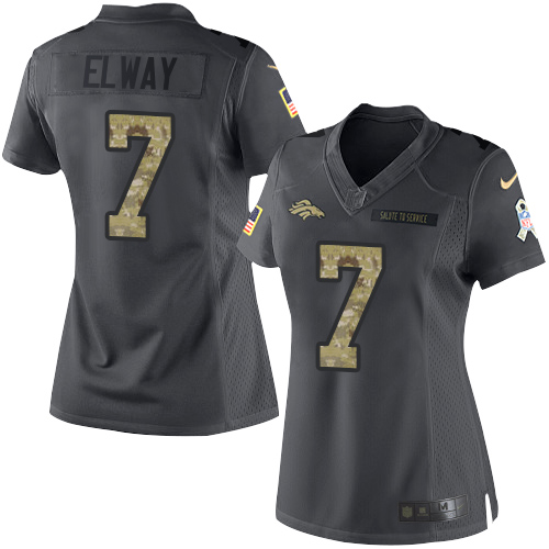 Nike Broncos #7 John Elway Black Women's Stitched NFL Limited 2016 Salute to Service Jersey