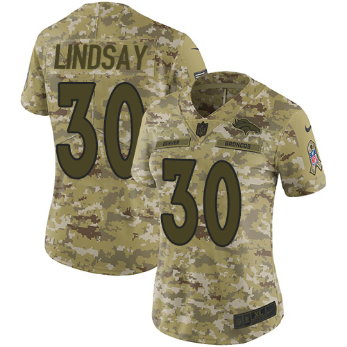 Nike Broncos #30 Phillip Lindsay Camo Women's Stitched NFL Limited 2018 Salute to Service Jersey