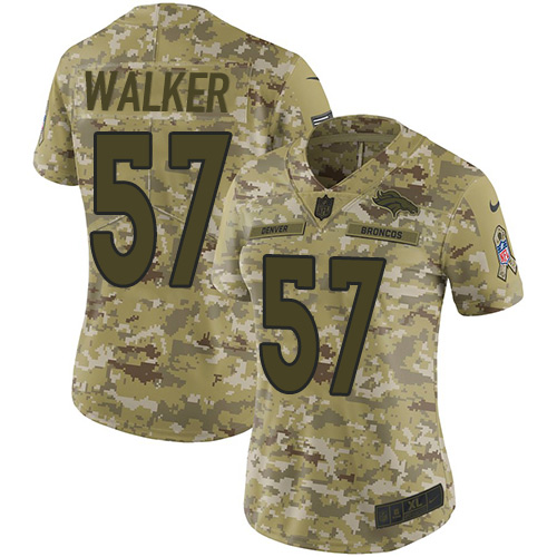 Nike Broncos #57 Demarcus Walker Camo Women's Stitched NFL Limited 2018 Salute to Service Jersey
