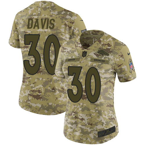 Nike Broncos #30 Terrell Davis Camo Women's Stitched NFL Limited 2018 Salute to Service Jersey