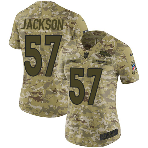 Nike Broncos #57 Tom Jackson Camo Women's Stitched NFL Limited 2018 Salute to Service Jersey