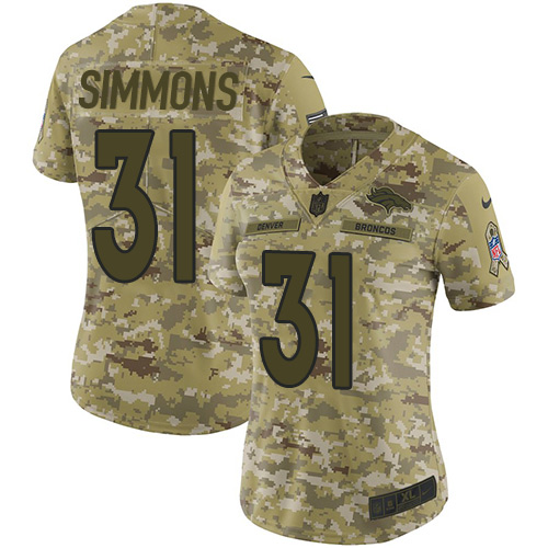 Nike Broncos #31 Justin Simmons Camo Women's Stitched NFL Limited 2018 Salute to Service Jersey