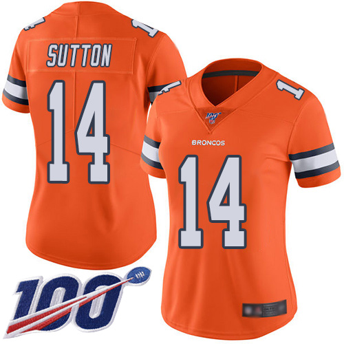Nike Broncos #14 Courtland Sutton Orange Women's Stitched NFL Limited Rush 100th Season Jersey
