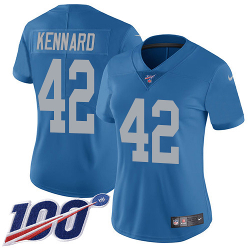 Nike Lions #42 Devon Kennard Blue Throwback Women's Stitched NFL 100th Season Vapor Untouchable Limited Jersey
