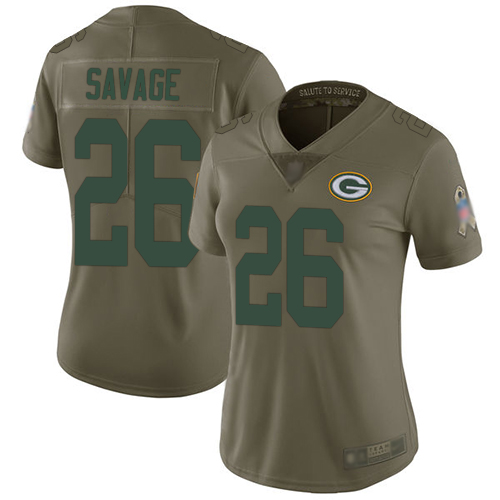 Nike Packers #26 Darnell Savage Olive Women's Stitched NFL Limited 2017 Salute to Service Jersey