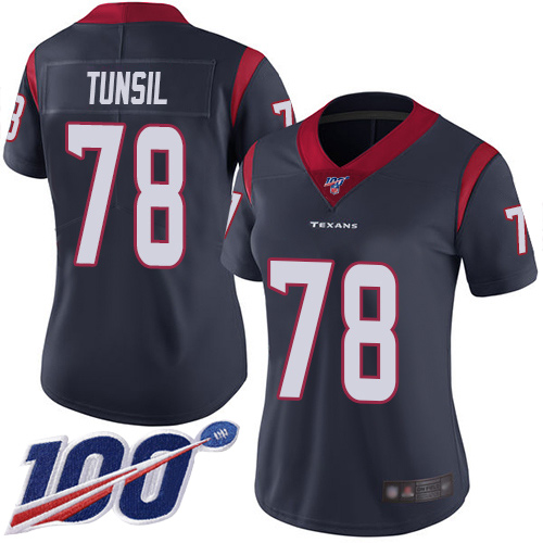 Nike Texans #78 Laremy Tunsil Navy Blue Team Color Women's Stitched NFL 100th Season Vapor Untouchable Limited Jersey