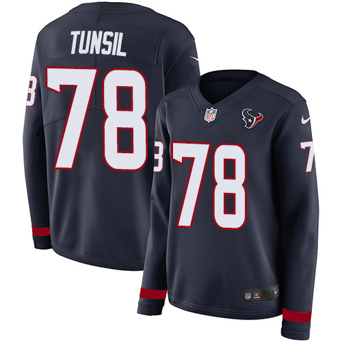 Nike Texans #78 Laremy Tunsil Navy Blue Team Color Women's Stitched NFL Limited Therma Long Sleeve Jersey