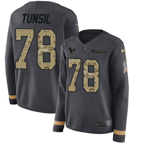Nike Texans #78 Laremy Tunsil Anthracite Salute to Service Women's Stitched NFL Limited Therma Long Sleeve Jersey