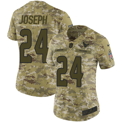 Nike Texans #24 Johnathan Joseph Camo Women's Stitched NFL Limited 2018 Salute to Service Jersey