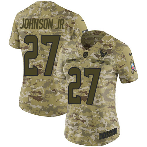 Nike Texans #27 Duke Johnson Jr Camo Women's Stitched NFL Limited 2018 Salute to Service Jersey