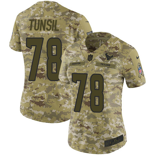 Nike Texans #78 Laremy Tunsil Camo Women's Stitched NFL Limited 2018 Salute To Service Jersey