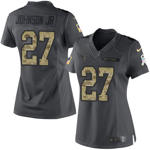 Nike Texans #27 Duke Johnson Jr Black Women's Stitched NFL Limited 2016 Salute to Service Jersey