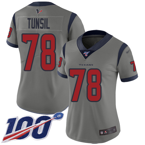 Nike Texans #78 Laremy Tunsil Gray Women's Stitched NFL Limited Inverted Legend 100th Season Jersey