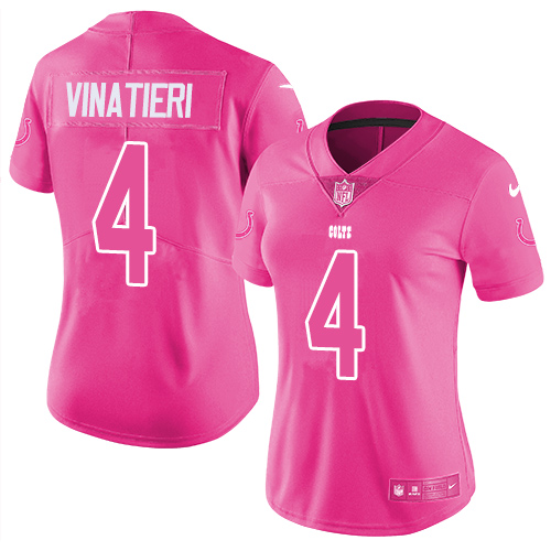 Nike Colts #4 Adam Vinatieri Pink Women's Stitched NFL Limited Rush Fashion Jersey