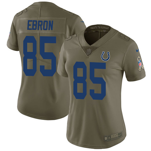 Nike Colts #85 Eric Ebron Olive Women's Stitched NFL Limited 2017 Salute to Service Jersey
