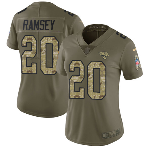 Nike Jaguars #20 Jalen Ramsey Olive/Camo Women's Stitched NFL Limited 2017 Salute to Service Jersey
