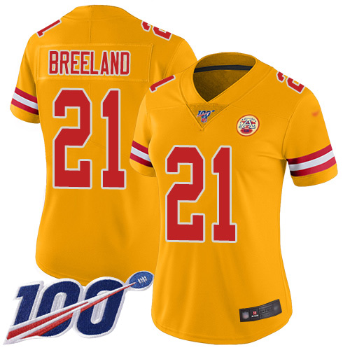 Nike Chiefs #21 Bashaud Breeland Gold Women's Stitched NFL Limited Inverted Legend 100th Season Jersey