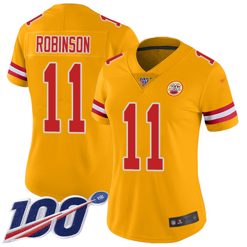 Nike Chiefs #11 Demarcus Robinson Gold Women's Stitched NFL Limited Inverted Legend 100th Season Jersey