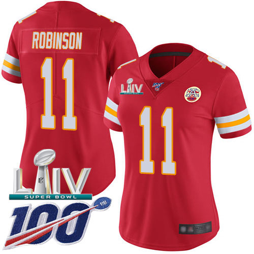 Nike Chiefs #11 Demarcus Robinson Red Super Bowl LIV 2020 Team Color Women's Stitched NFL 100th Season Vapor Untouchable Limited Jersey