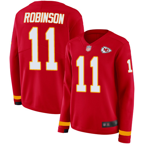 Nike Chiefs #11 Demarcus Robinson Red Team Color Women's Stitched NFL Limited Therma Long Sleeve Jersey