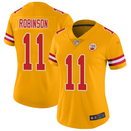 Nike Chiefs #11 Demarcus Robinson Gold Women's Stitched NFL Limited Inverted Legend Jersey