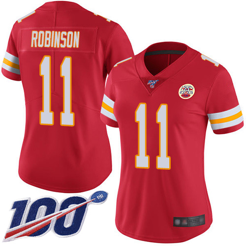 Nike Chiefs #11 Demarcus Robinson Red Team Color Women's Stitched NFL 100th Season Vapor Limited Jersey