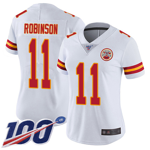 Nike Chiefs #11 Demarcus Robinson White Women's Stitched NFL 100th Season Vapor Limited Jersey