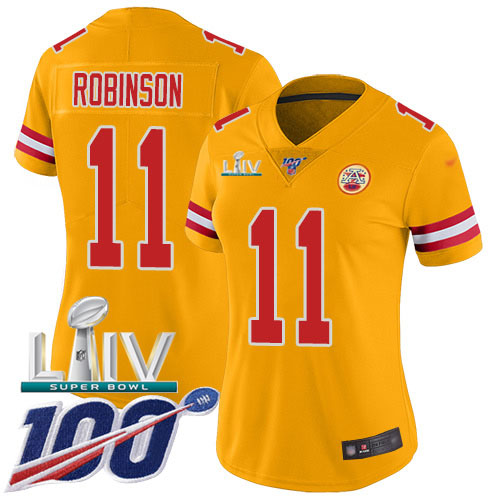 Nike Chiefs #11 Demarcus Robinson Gold Super Bowl LIV 2020 Women's Stitched NFL Limited Inverted Legend 100th Season Jersey