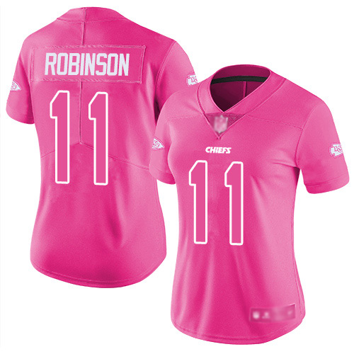 Nike Chiefs #11 Demarcus Robinson Pink Women's Stitched NFL Limited Rush Fashion Jersey