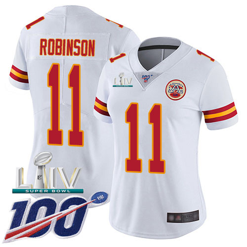 Nike Chiefs #11 Demarcus Robinson White Super Bowl LIV 2020 Women's Stitched NFL 100th Season Vapor Untouchable Limited Jersey