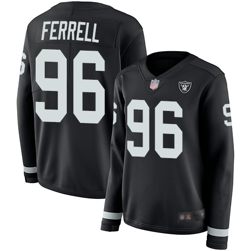 Nike Raiders #96 Clelin Ferrell Black Team Color Women's Stitched NFL Limited Therma Long Sleeve Jersey