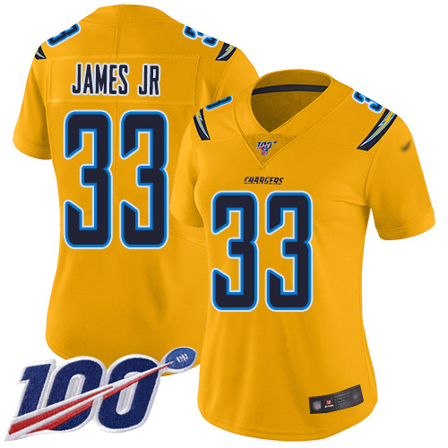Nike Chargers #33 Derwin James Jr Gold Women's Stitched NFL Limited Inverted Legend 100th Season Jersey