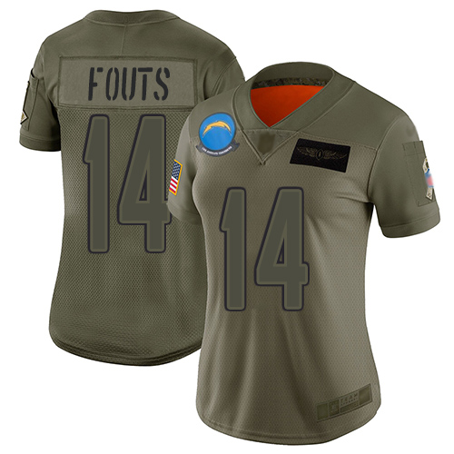 Nike Chargers #14 Dan Fouts Camo Women's Stitched NFL Limited 2019 Salute to Service Jersey
