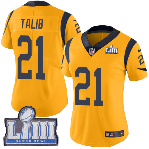 Nike Rams #21 Aqib Talib Gold Super Bowl LIII Bound Women's Stitched NFL Limited Rush Jersey