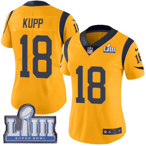 Nike Rams #18 Cooper Kupp Gold Super Bowl LIII Bound Women's Stitched NFL Limited Rush Jersey