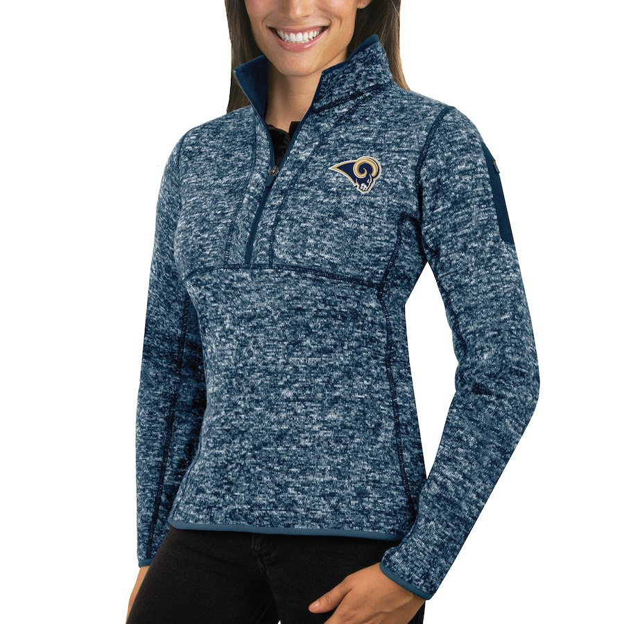 Los Angeles Rams Antigua Women's Fortune Half-Zip Sweater Heather Navy