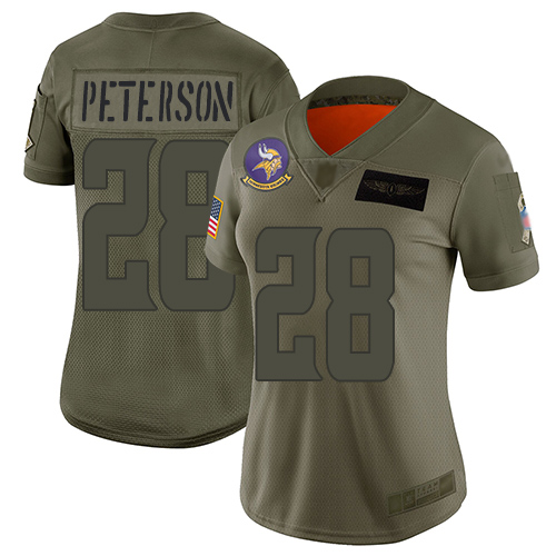 Nike Vikings #28 Adrian Peterson Camo Women's Stitched NFL Limited 2019 Salute to Service Jersey