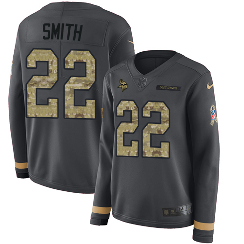 Nike Vikings #22 Harrison Smith Anthracite Salute to Service Women's Stitched NFL Limited Therma Long Sleeve Jersey