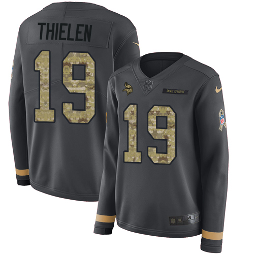 Nike Vikings #19 Adam Thielen Anthracite Salute to Service Women's Stitched NFL Limited Therma Long Sleeve Jersey