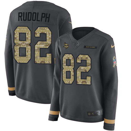 Nike Vikings #82 Kyle Rudolph Anthracite Salute to Service Women's Stitched NFL Limited Therma Long Sleeve Jersey