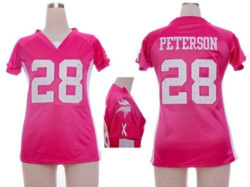 Nike Vikings #28 Adrian Peterson Pink Draft Him Name & Number Top Women's Stitched NFL Elite Jersey