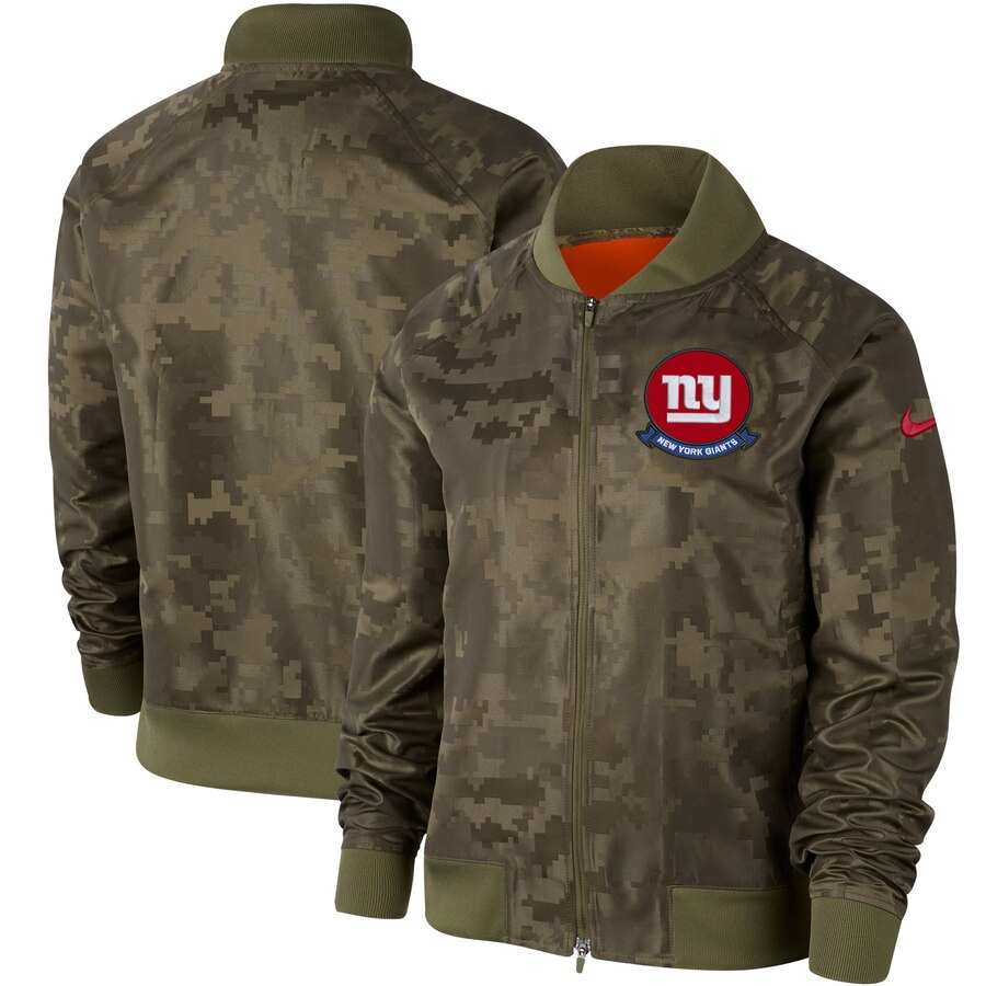 Women's New York Giants Nike Olive 2019 Salute to Service Full-Zip Bomber Jacket