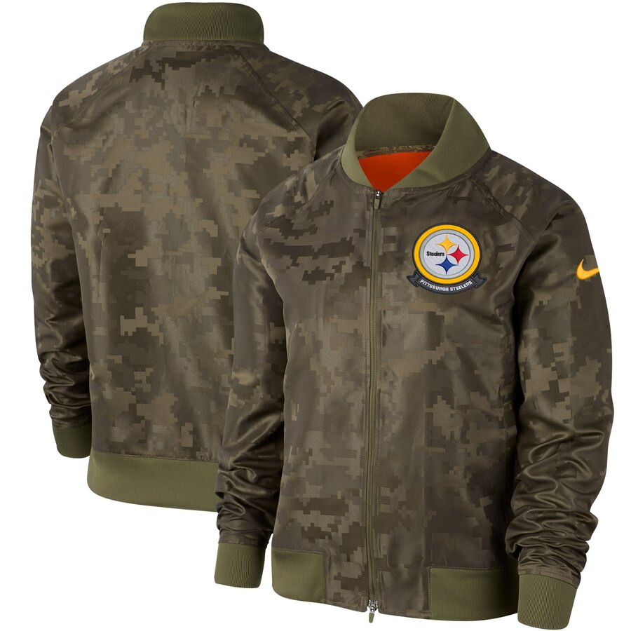 Women's Pittsburgh Steelers Nike Olive 2019 Salute to Service Full-Zip Bomber Jacket