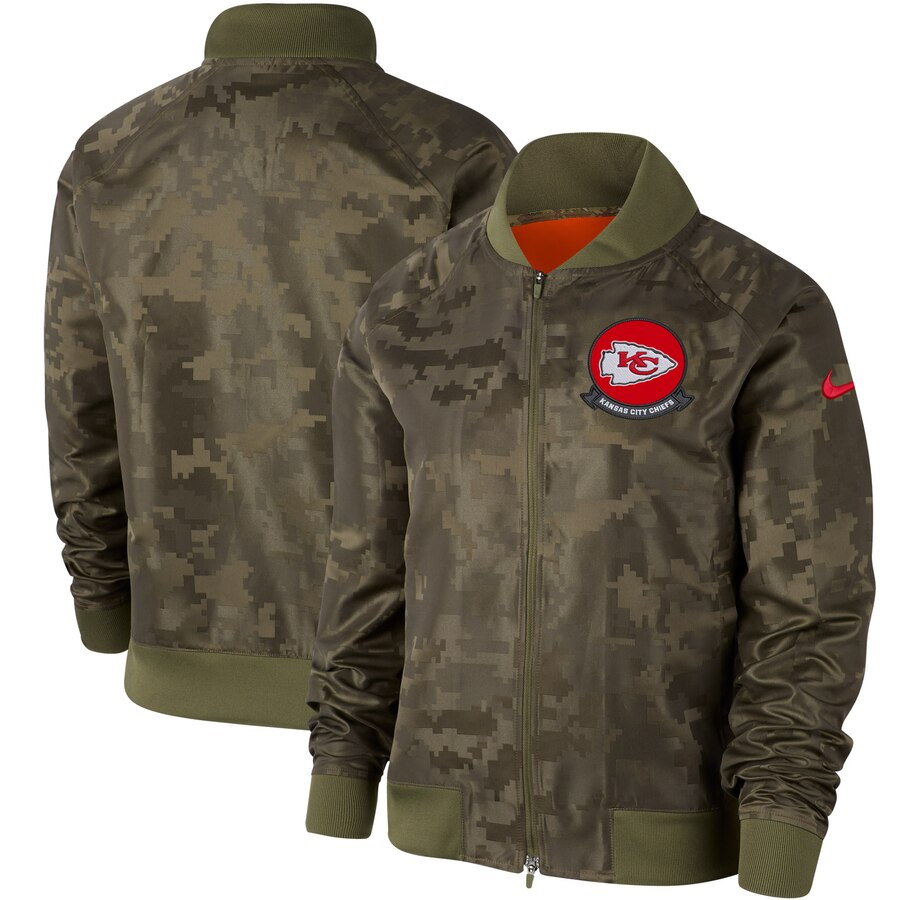 Women's Kansas City Chiefs Nike Olive 2019 Salute to Service Full-Zip Bomber Jacket