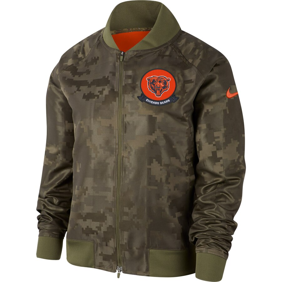 Women's Chicago Bears Nike Olive 2019 Salute to Service Full-Zip Bomber Jacket