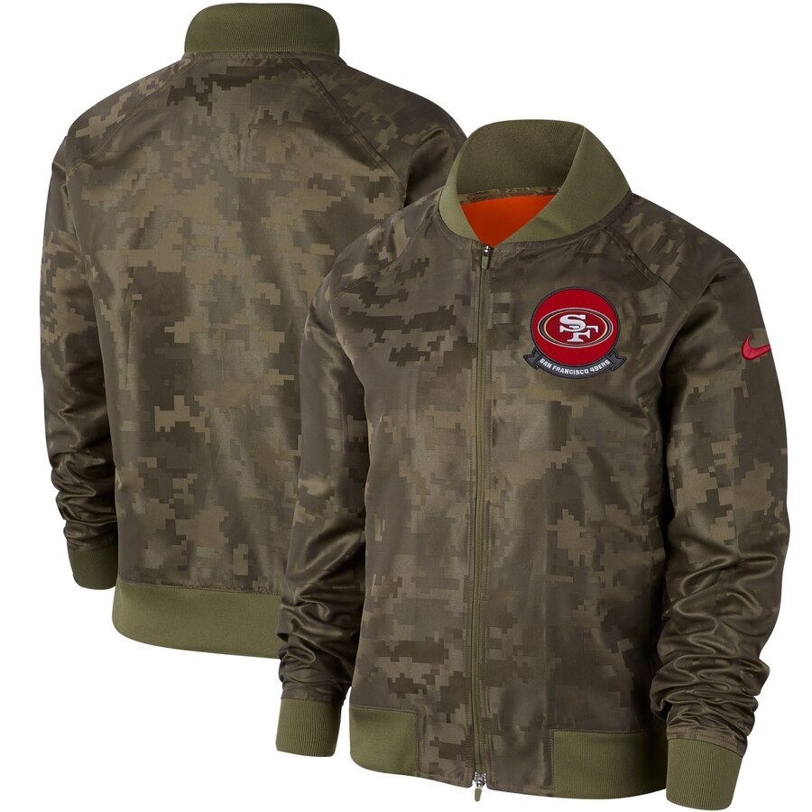 Women's San Francisco 49ers Nike Olive 2019 Salute to Service Full-Zip Bomber Jacket
