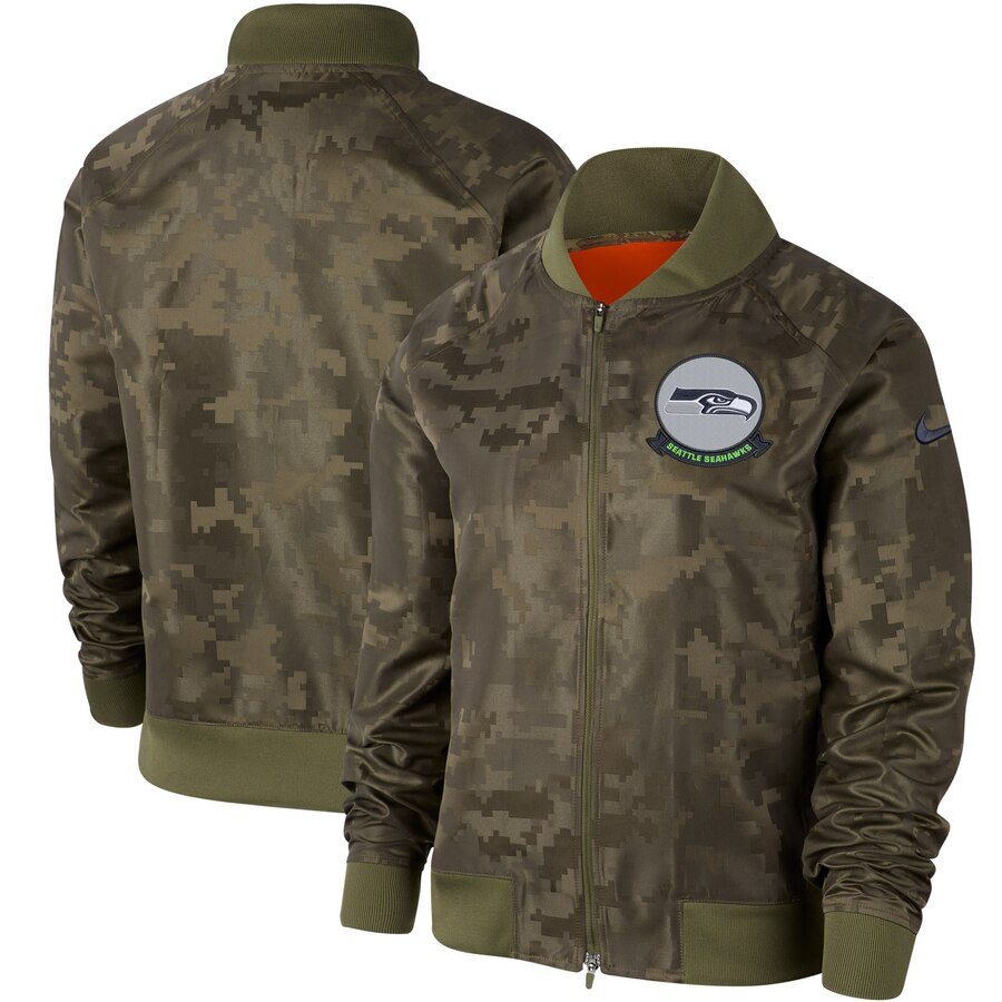 Women's Seattle Seahawks Nike Olive 2019 Salute to Service Full-Zip Bomber Jacket