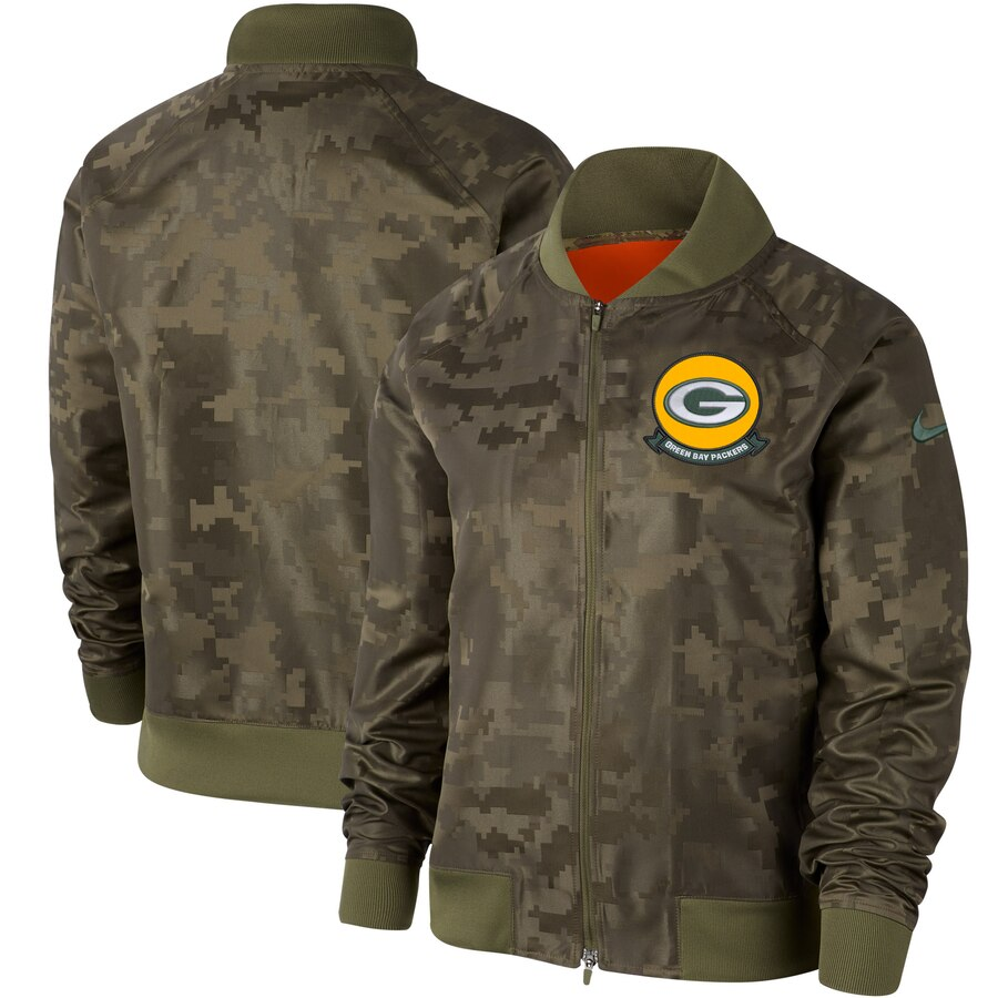 Women's Green Bay Packers Nike Olive 2019 Salute to Service Full-Zip Bomber Jacket